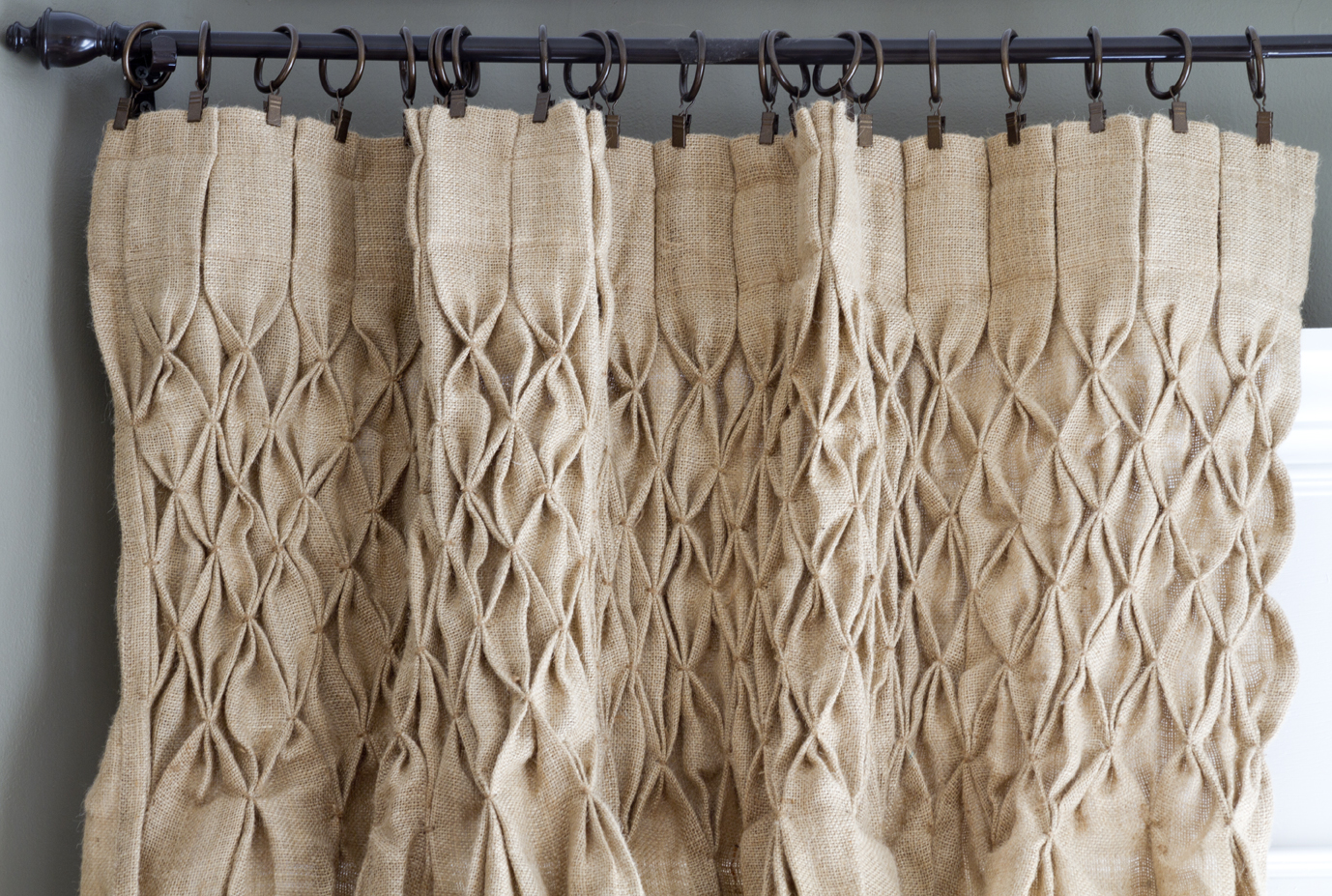 Diy Burlap Kitchen Curtains In smocked burlap curtains